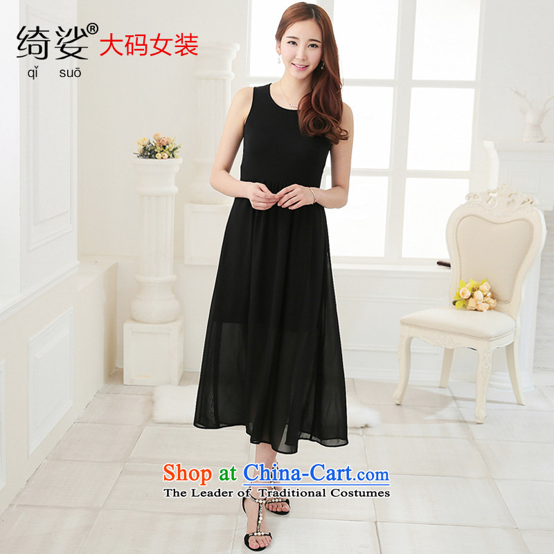 As provided for large female thick MM summer new Korean version thin round-neck collar solid thick sister xl dresses聽 2 705聽Black聽XL