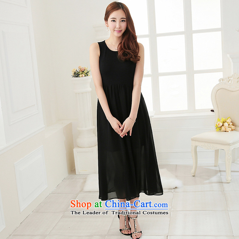 As provided for large female thick MM summer new Korean version thin round-neck collar solid thick sister xl dresses 2 705BlackXL, Yee (qisuo provisions) , , , shopping on the Internet