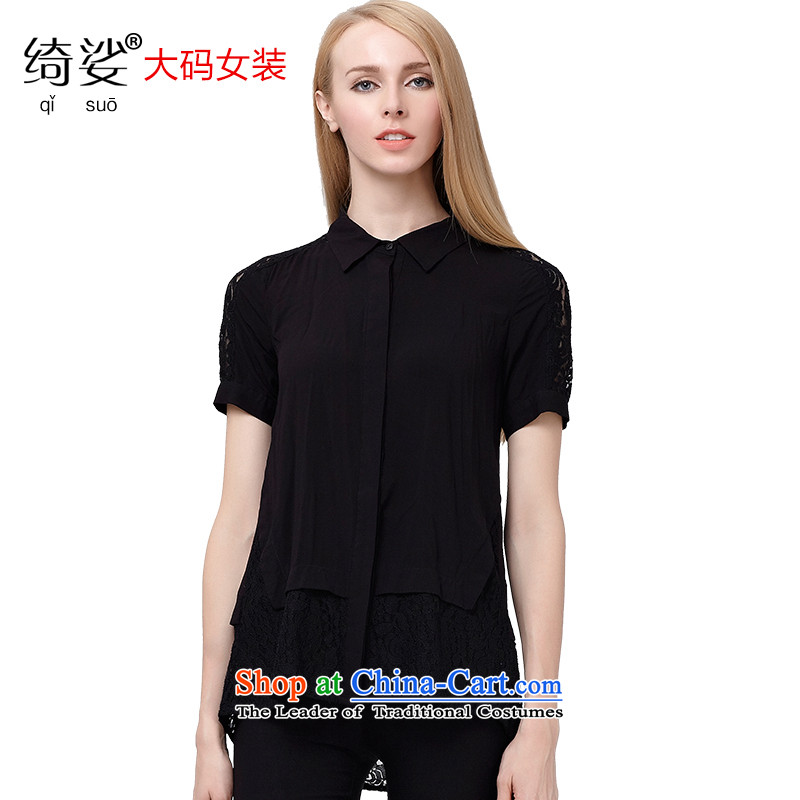 As provided for large summer 2015 MM thick Korean sweet lace stitching shirt graphics plus thin short-sleeved shirt sister thick聽Black 2692聽XL