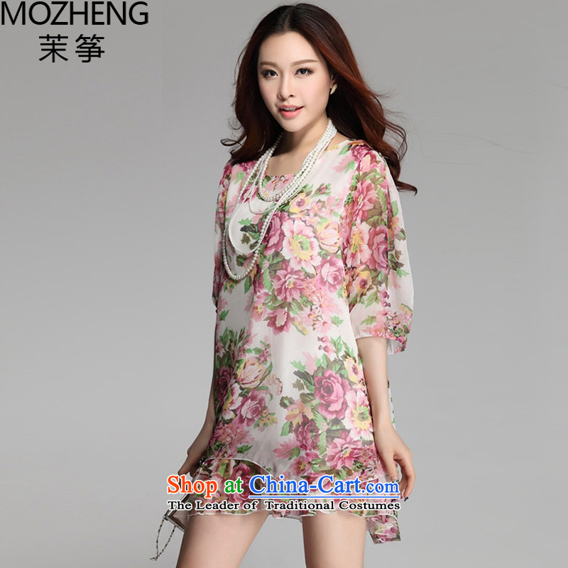Energy exports _autumn 2015_ relaxd mozheng round-neck collar double chiffon large dresses larger_4-7207meters WhiteXXL