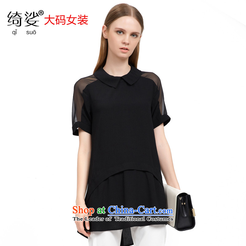 As provided for in the summer 2015 new product codes for women of child-collar sexy sweet gauze stitching short-sleeved T-shirt short chiffon  2722Black2XL