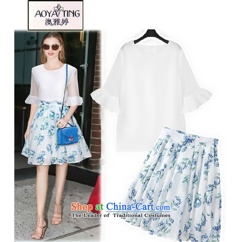 O Ya-ting2015 new to xl female spring and summer load thick mm thin T-shirt + Video stamp skirt kit female white + blue dress with a two-piece4XLrecommends that you 160-180 catty