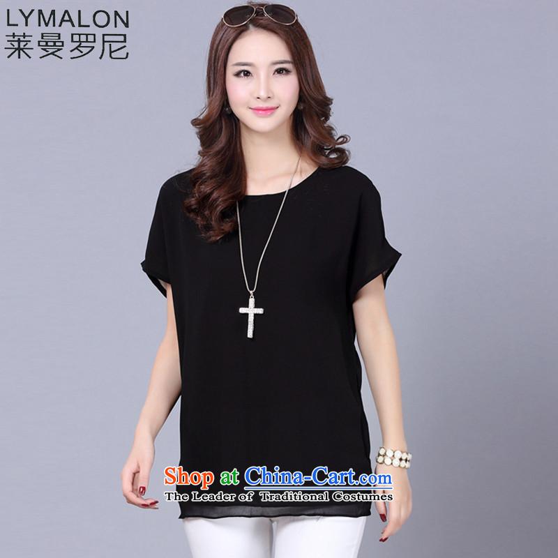 The lymalon lehmann thick, Hin thin 2015 Summer new Korean version of large numbers of ladies loose video thin chiffon shirt short-sleeved T-shirt 9005 BlackXXL