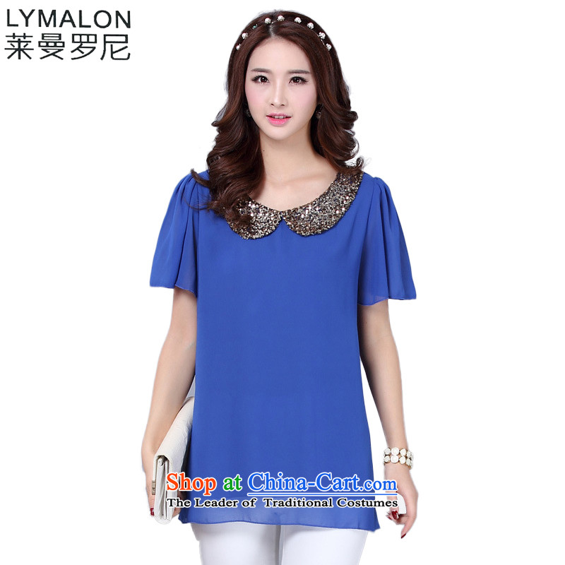 The lymalon lehmann thick, Hin thin 2015 Summer new Korean version of large numbers of ladies on chip dolls collar short-sleeved T-shirt chiffon shirt No. 8638 BlueM