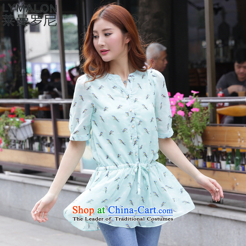 The lymalon lehmann thick, Hin thin 2015 Summer Korea Women's code version of large flying bird stamp short-sleeved T-shirt chiffon 1195 ice3XL green