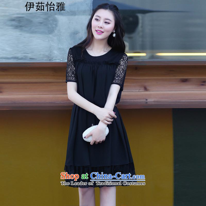 El-ju Yee Nga2015 Summer new Korean lace thick sister chiffon stitching larger women's dresses YY9181 blackXXL