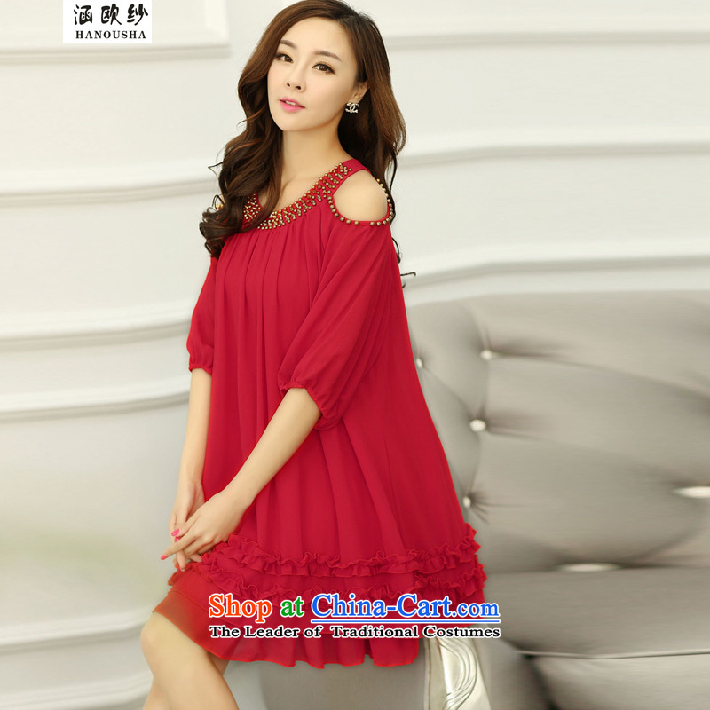 The OSCE yarn Korean covered by large women shoulders relaxd chiffon dresses pregnant woman summer thick MM skirts 2015 Summer New Red M