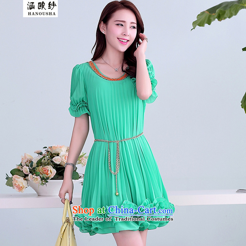 The OSCE large yarn covered by female thick mm dresses to increase video summer thin black fungus edge chiffon dresses relaxd dress short-sleeved light greenM