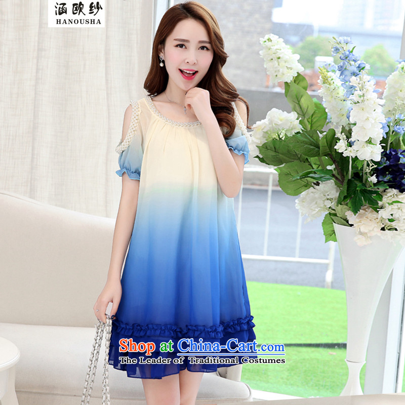 The OSCE yarn to covered by xl women2015 Korean thick sister loose video thin short-sleeved chiffon thick mm staple pearl summer dresses BlueM