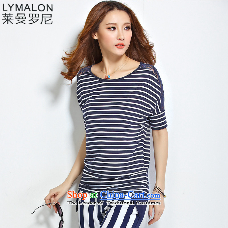 The lymalon lehmann thick, Hin thin 2015 Summer new Korean version of large numbers of ladies streaks round-neck collar lace bat sleeves T-shirt, blue and whiteXXXL 1199