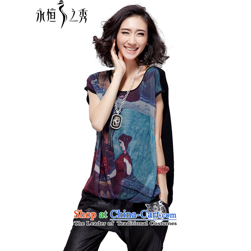 The Eternal-soo to xl female chiffon shirt thick sister 2015 Summer new expertise, Hin thin loose t-shirt bat sleeved shirt black�L