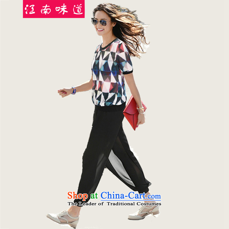Gangnam-gu large taste of women for summer to intensify the thick mm thick people chiffon shirt female graphics thin, short-sleeved T-shirt + chiffon shorts Kit 117 map colorXL around 922.747 recommendations 120