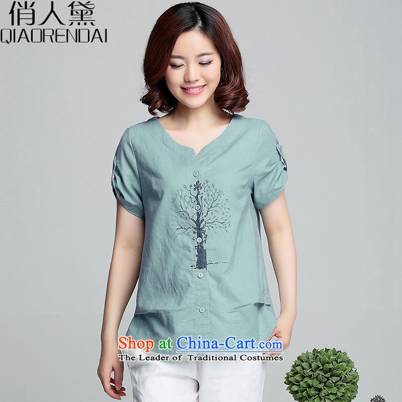 For people燭-shirt female summer Doi short-sleeved short of 2015 Summer New Women Korean fashion loose cotton linen clothes water Blue燤