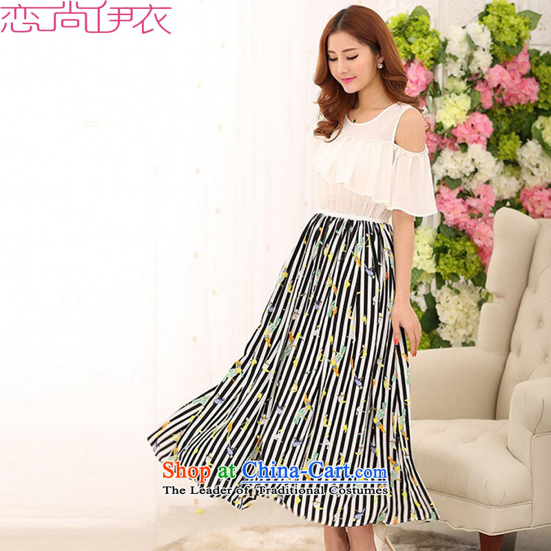 C.o.d. Package Mail thick mm xl streaks long skirt 2015 New Bohemia large skirt stamp stitching short-sleeved dresses beachapproximately 120-135 skirt White XL catty