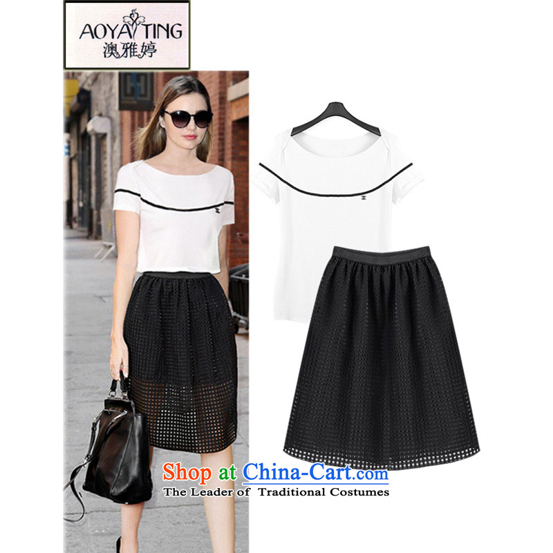 O Ya-ting2015 new to xl female summer fat mm short-sleeved T-shirt, long, a female field kit shirt + apron skirt3XL two kits145-165 recommends that you Jin