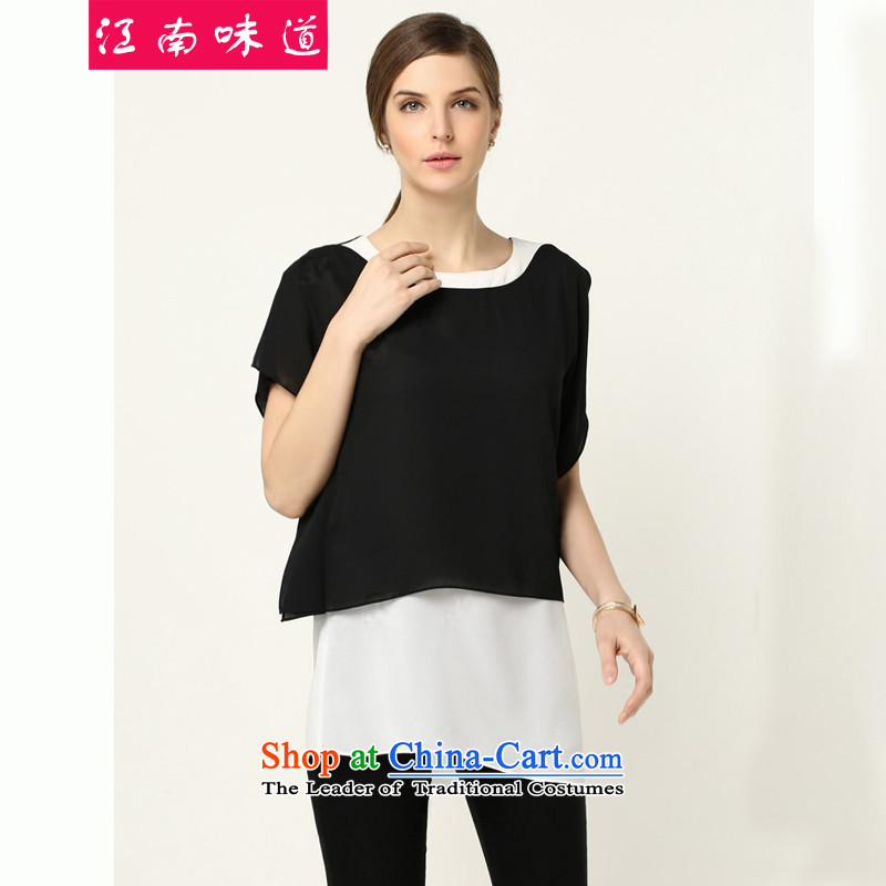 The Gangnam taste for larger female Summer Package thick, Hin thin, casual thick sister chiffon shirt stitching color short-sleeved T-shirt + Capri Kit 76 black燼round 922.747 recommended 100 L