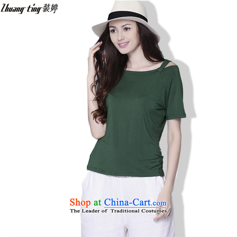 Replace zhuangting Ting 2015 Summer new European and American Women's larger sweet pure color graphics thin stylish short relaxd TEE B002燲XXL green