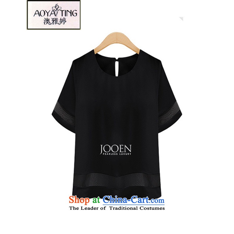 O Ya-ting 2015 new to xl female summer thick mm thin chiffon shirt graphics shirt summer black 5XL 175-200 recommends that you Jin