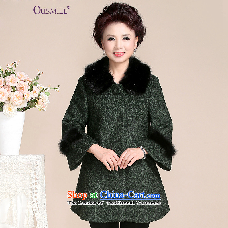 2015 Autumn and winter new ousmile) Older women wear wool a wool coat middle-aged moms large load women a jacket HL58 HL58 3XL green