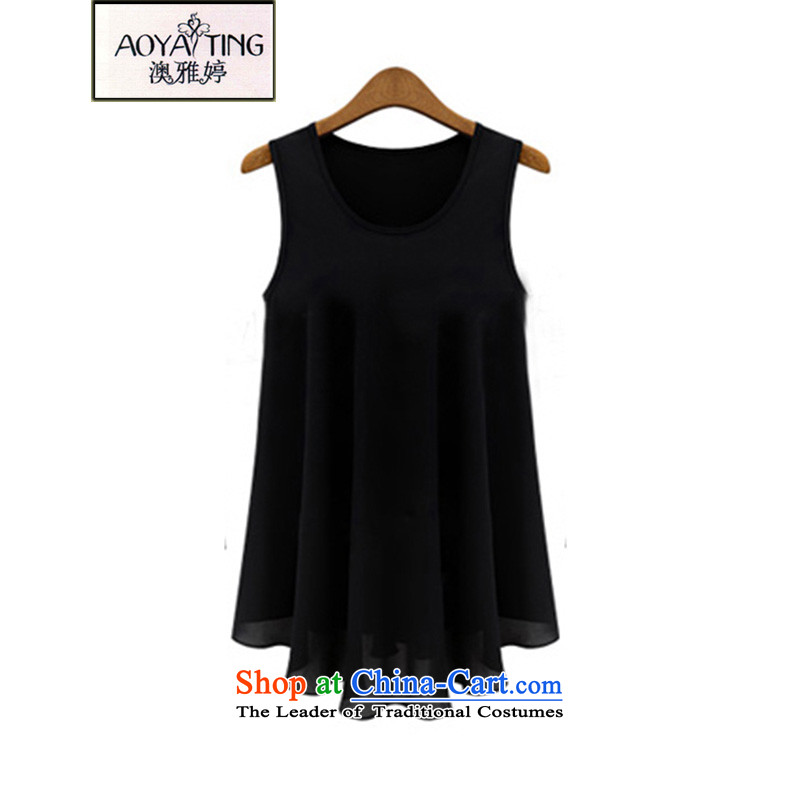 O Ya-ting 2015 new to increase the number of women's summer wear the vest skirt thick video thin clothes summer chiffon black 5XL 175-200 recommends that you Jin