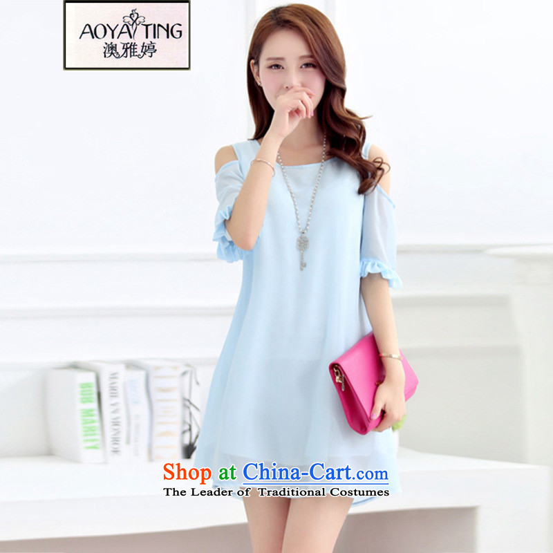 O Ya-ting2015 new to xl female summer thick mm video thin ice woven dresses female water blue5XL175-200 recommends that you Jin