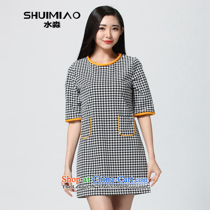 Water Spring 2015 of new women's larger commuter Korean version, Chidori video thin forming the skirt of black-and-white S15CY4684燲L