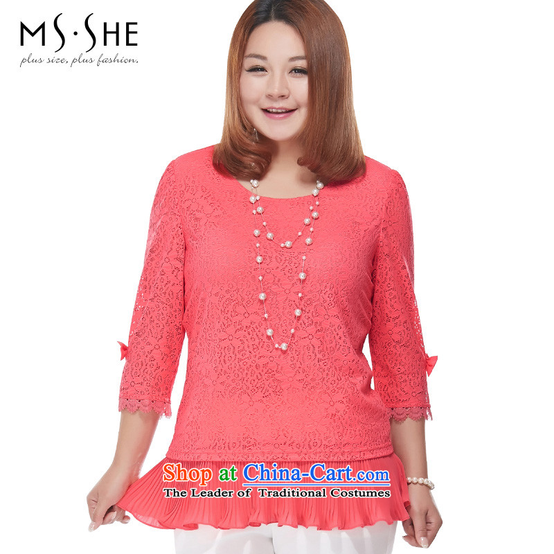 Msshe xl women 2015 new fall thick mm sister Korea boxed version sweet t-shirt with round collar lace 2888 West�L red