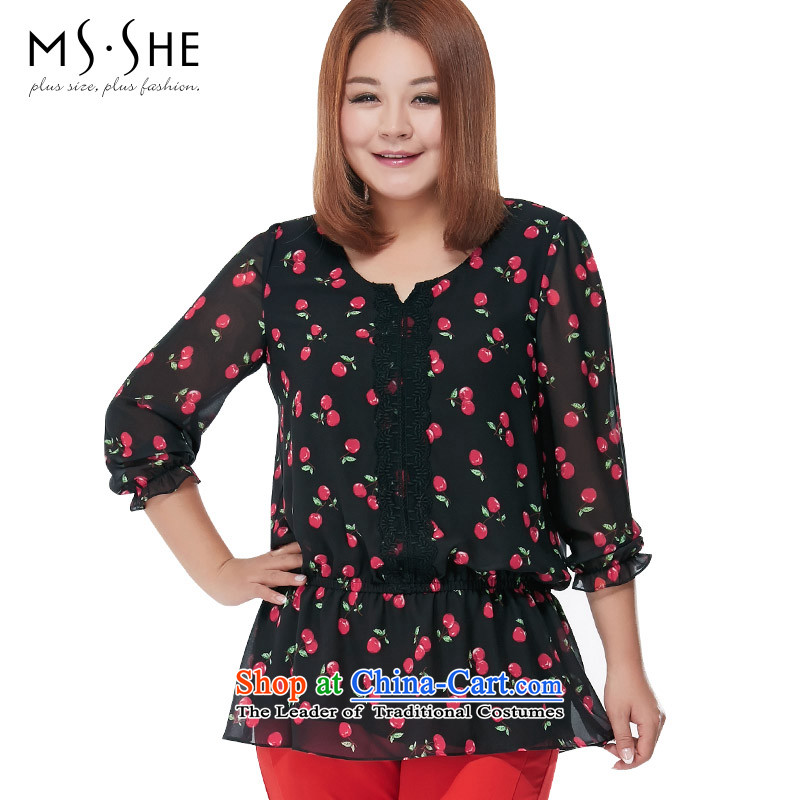 Msshe XL Women's Summer 2015 new stamp elastic waist cherry long-sleeved black� 5XL CHIFFON 2649