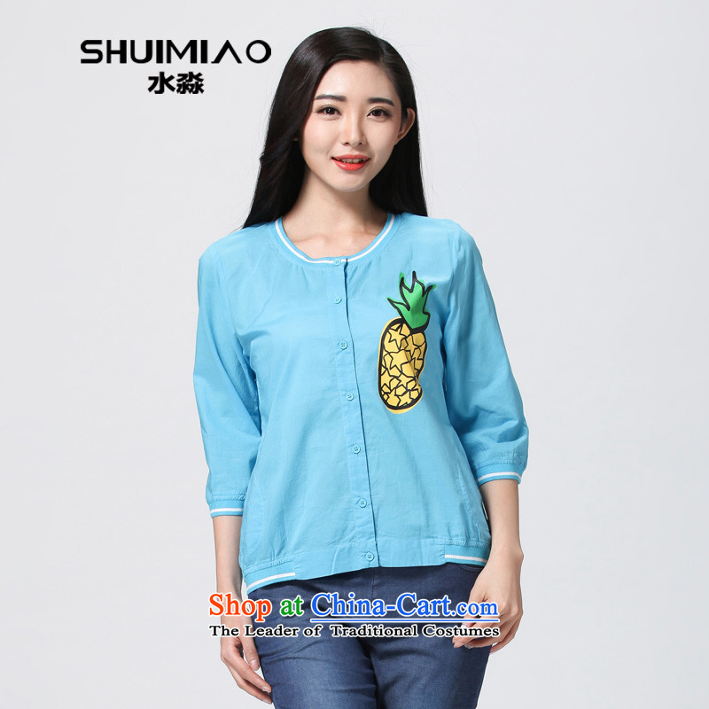 The representative of the water for larger women 2015 Summer new commuter Korean thick mm thin, T-shirt S15XJ4777 Cardigan 2,005燲L