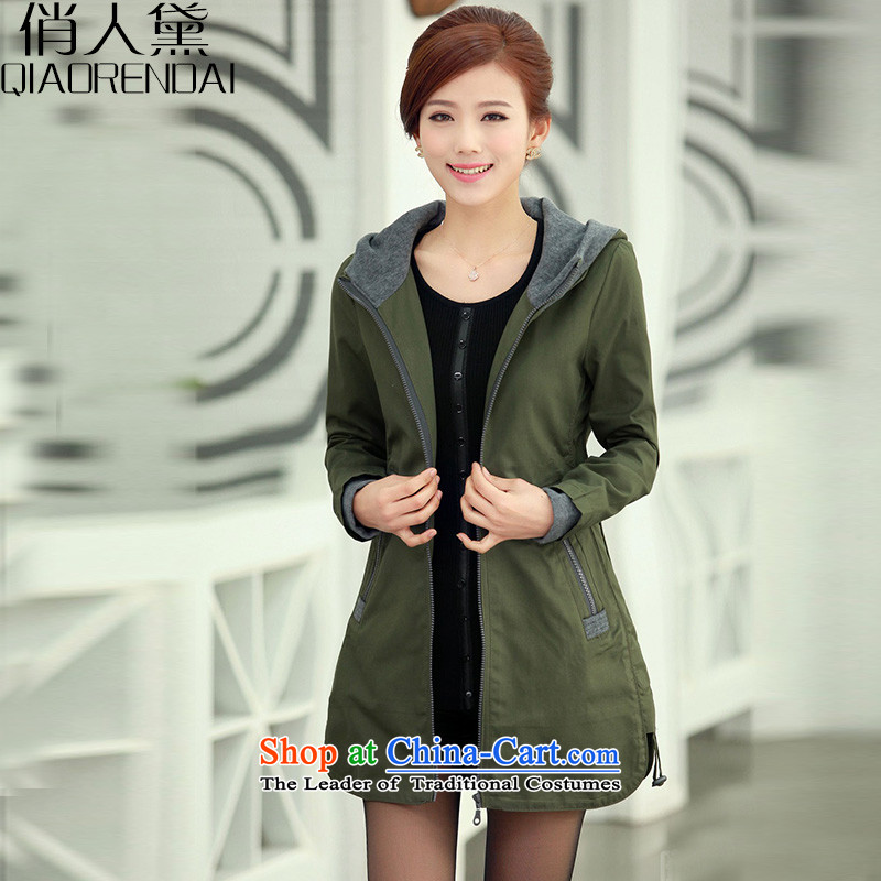 For people to increase the number of Diane women in spring and autumn 2015 new_ thick MM larger windbreaker girl in the long Spring and Autumn leisure video thin coat female army green jacket�L_ recommendations 185-200 catties_