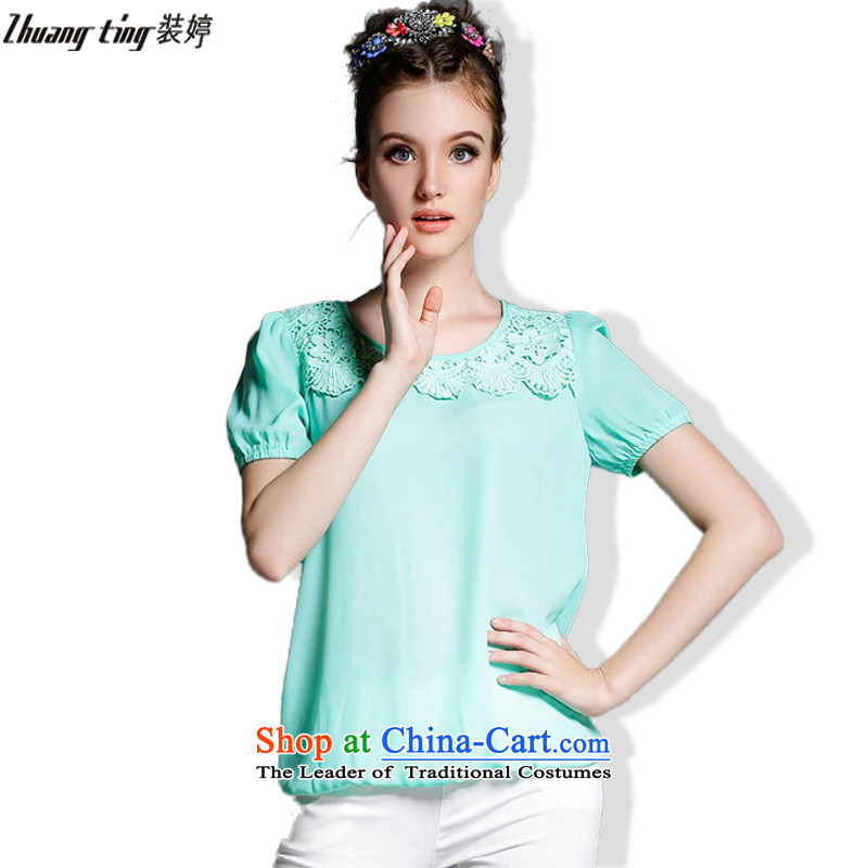 Replace, Hin thick ting thin 2015 Summer thick mm wild large European and American Women's solid color for dolls lace stitching short-sleeved T-shirt, blue jacket�L 1869