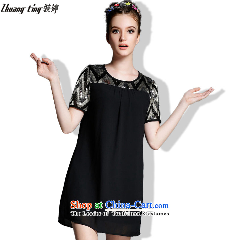Replace Ting zhuangting 2015 new summer products code women in Europe solid color light wire stitching loose pearl yarn dresses 1865 Black�L