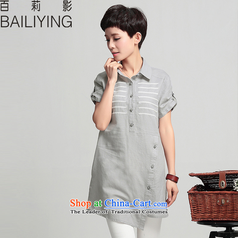 Hundred Li Ying 2015 summer short-sleeved new larger women in long cotton linen shirt very casual shirts, T-shirt and gray燤