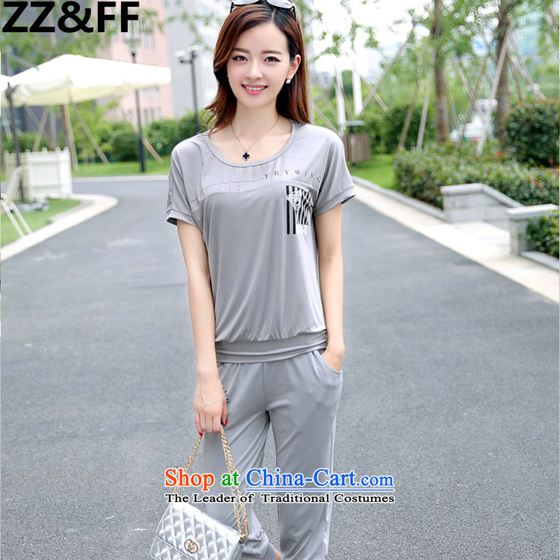 The new 2015 Zz_ff summer to increase women's code thick mm stylish short-sleeved leisure wears short-sleeved T-shirt Capri two kits�5-145 recommended catty XXL_ Gray_