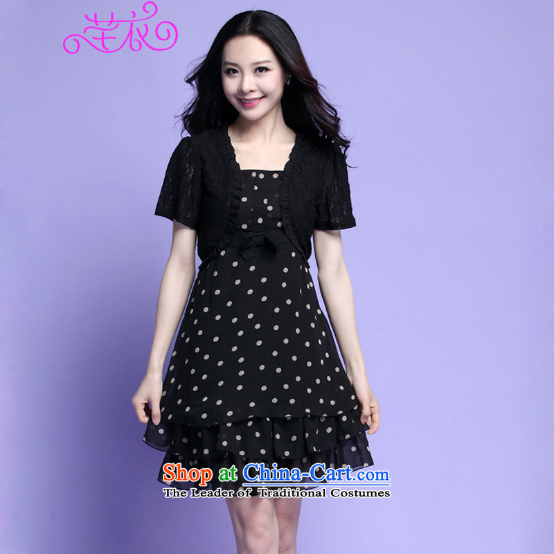 In the summer of 2015, New xl female dot chiffon lace leave two garment thick mm sweet temperament bon bon skirt lady layers of cake skirt black large XL 120-140 catty