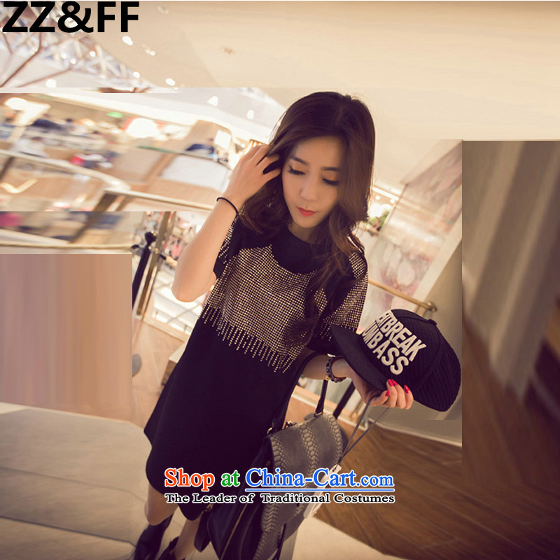 2015 Korean Zz_ff summer western edging gold short-sleeved large Fat MM dresses in long T shirt picture color燲L_ recommendations 100-135 catties_