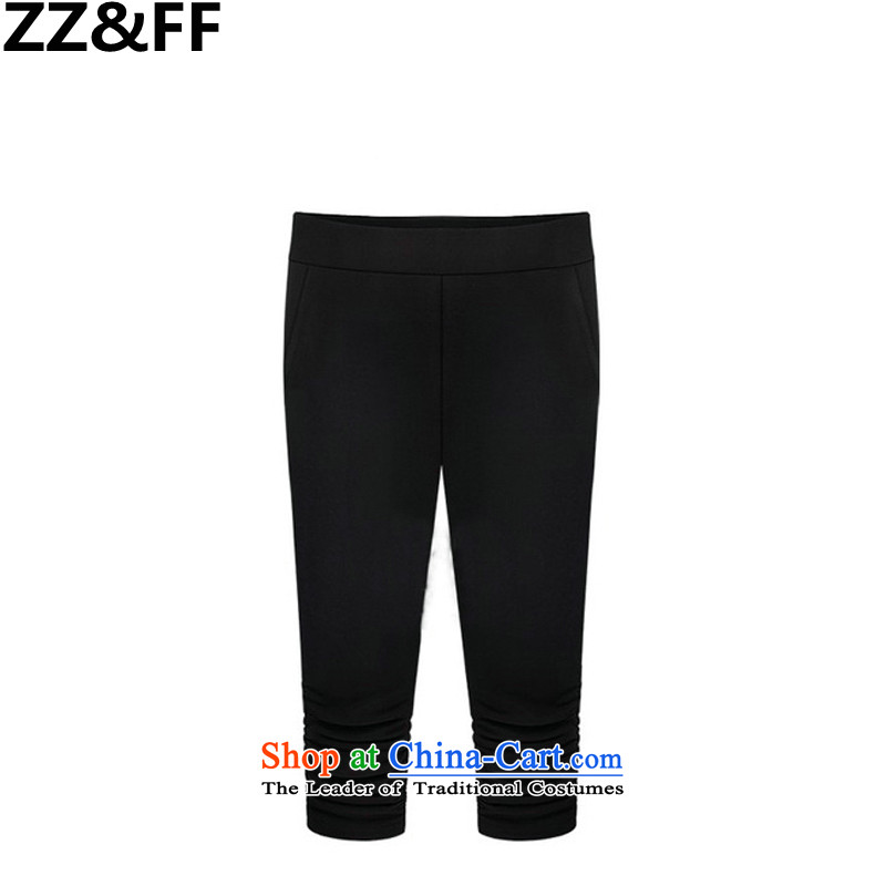 2015 New Europe Zz_ff station great Code women's summer thick MM Stretch elastic waist Capri female black燲XXL