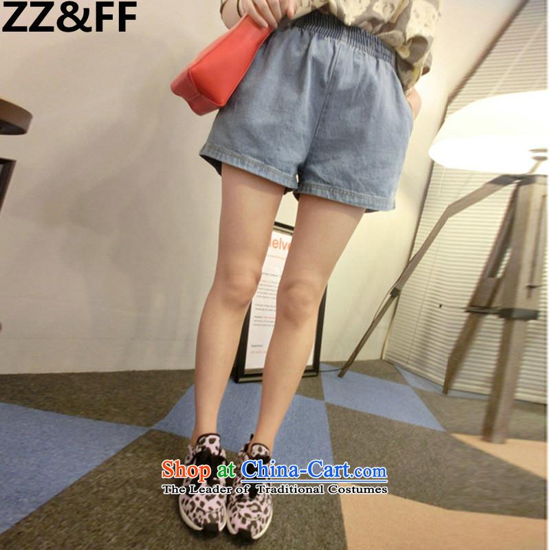 2015 New Korea Zz_ff version leisure larger female thick MM elasticated waist for leg summer shorts cutoffs female燲XXXL light blue