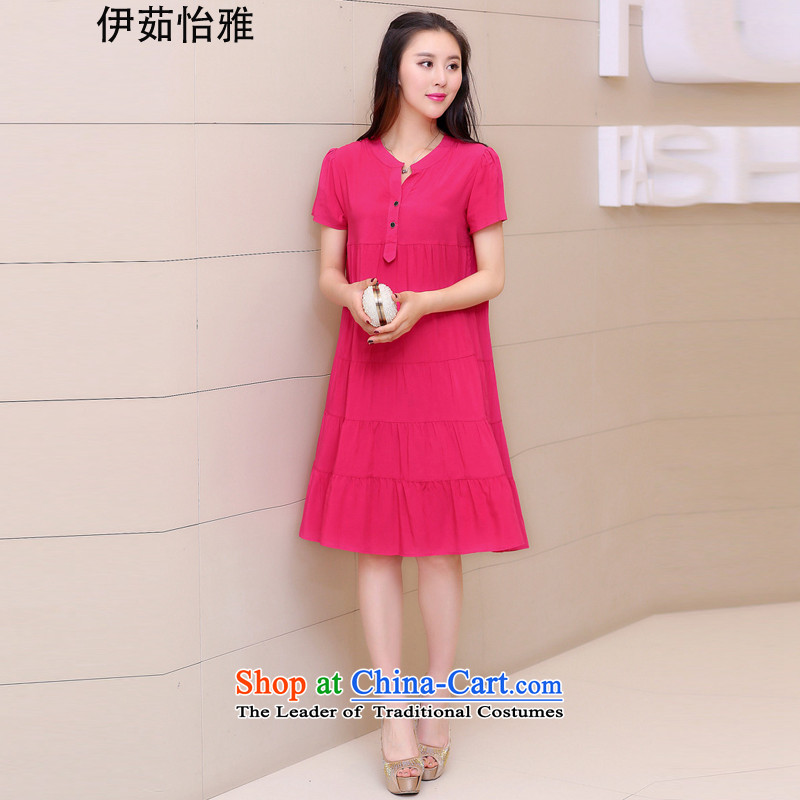 El-ju Yee Nga�L new summer larger female graphics thin Korean thick sister relaxd dress in red YJ189燲L