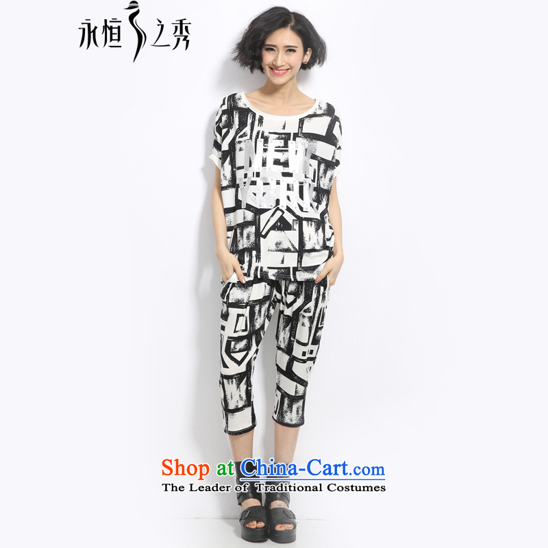 The Eternal Soo-To increase the number of women's centers, Thin Kit Video thick sister 2015 Summer new products thick mm personality of England stamp t-shirt, black trousers Kit 2XL