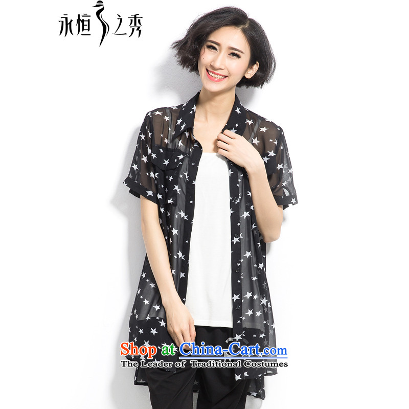 The Eternal Yuexiu Code women chiffon shirt thick sister 2015 Summer new product expertise, Hin thick mm thin, to intensify the stars stamp loose shirt, black 2XL