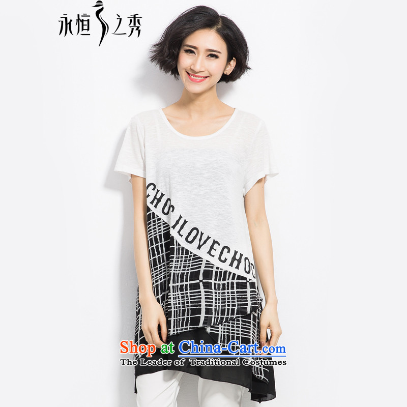 The Eternal-soo to xl t-shirts thick sister 2015 Summer new product expertise, Hin thick mm thin, Europe and irregular, long, stamp white T-shirt燲L