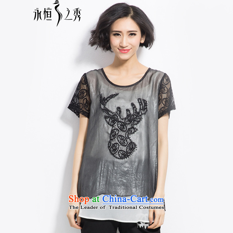 The Eternal-soo to xl t-shirts thick mm2015 summer new product expertise, Hin thick sister thin stylish twill yarn embroidery leave two t-shirts Black XL
