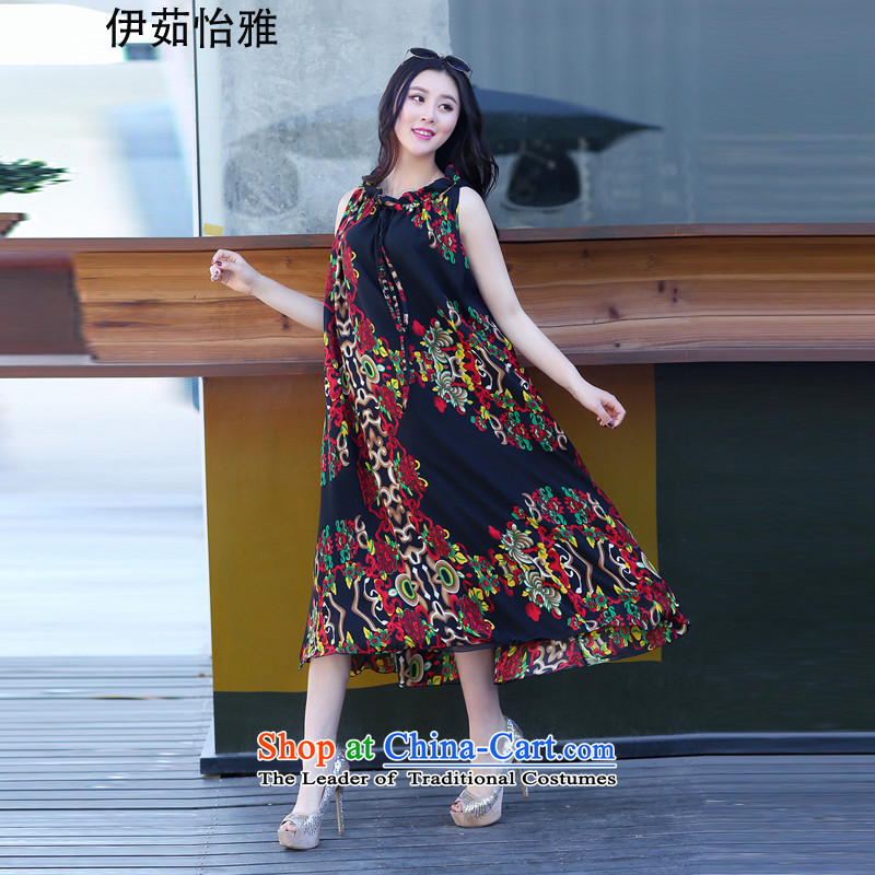 El-ju Yee Nga new summer larger female 200 catties thick sister video thin suit Bohemia beach skirt long skirt chiffon dresses YJ9286 black totem are code
