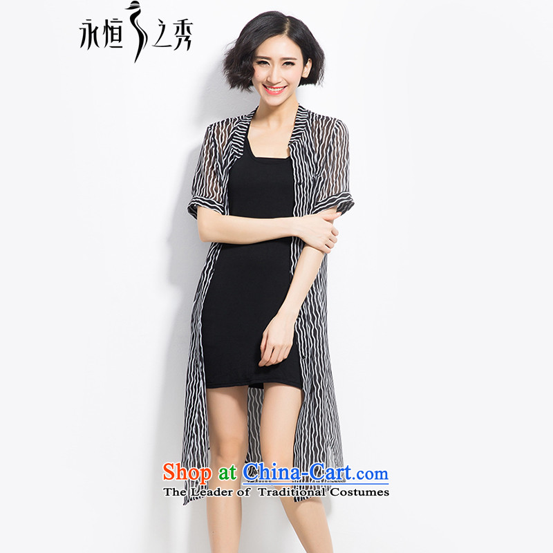The Eternal Yuexiu Code women's summer new products, Hin thin, thick snow woven shirts jacket thick mm to xl women in stamp long wave streaks, black-and-white streaks cardigan�L color