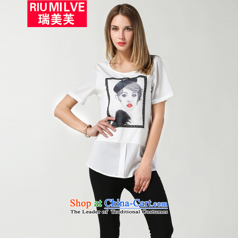 Rui Mei to larger female thick mm thin 2015 Summer graphics new Western popular personality in stamp long chiffon T shirt female jacket 3632 White燲L
