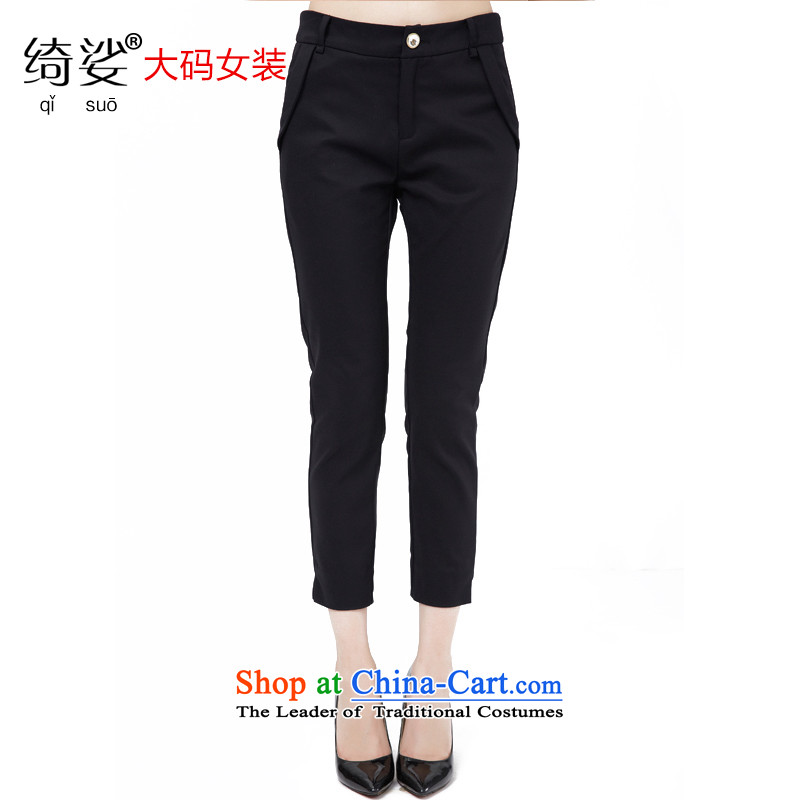 As provided for by 2015 XL female thick MM new summer products Korean wild graphics to increase thin 9 trousers�50燘lack燣