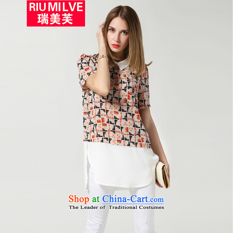 Rui Mei�15 summer to new thick mm heavy code women to increase the loose video thin short-sleeved chiffon stamp color stitching knocked t shirt color picture�L 3607