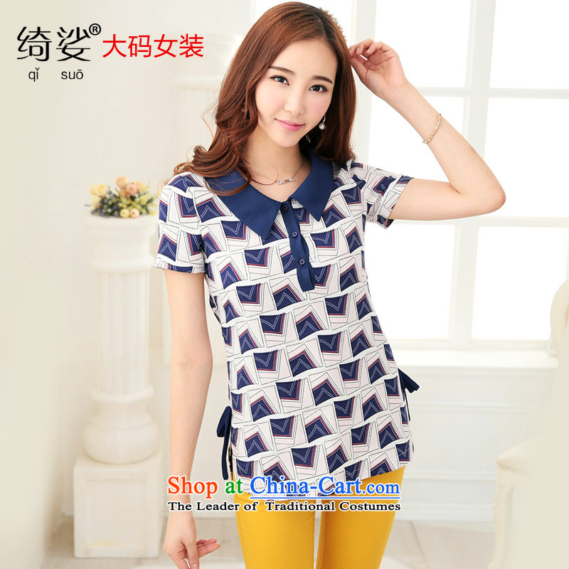 As provided for by 2015 XL female thick MM new summer products Korean sweet graphics thin black poverty short-sleeved T-shirt,燽lue�L 2712