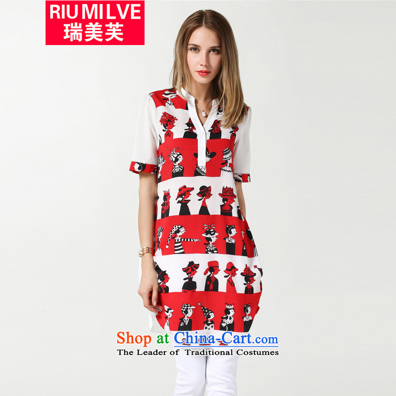 Rui Mei to larger women 2015 Summer new thick mm video thin short-sleeved T-shirt chiffon stamp in long loose casual women jacket N3615 Red�L